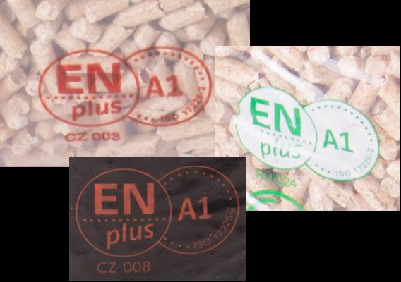 Loga ENplus A1 na pytlých s peletami